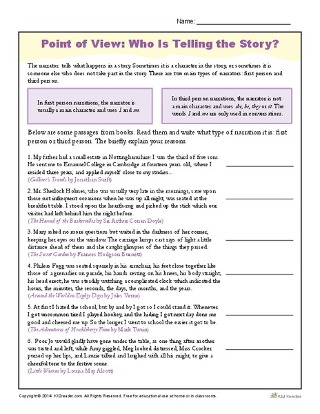 point of view worksheet worksheets for school mindgearlabs. Black Bedroom Furniture Sets. Home Design Ideas