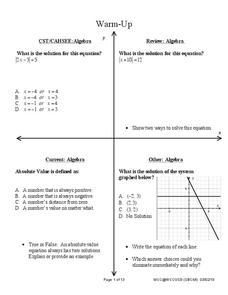 Connecting Graphing and Solving Absolute Value Equations and Functions Lesson Plan