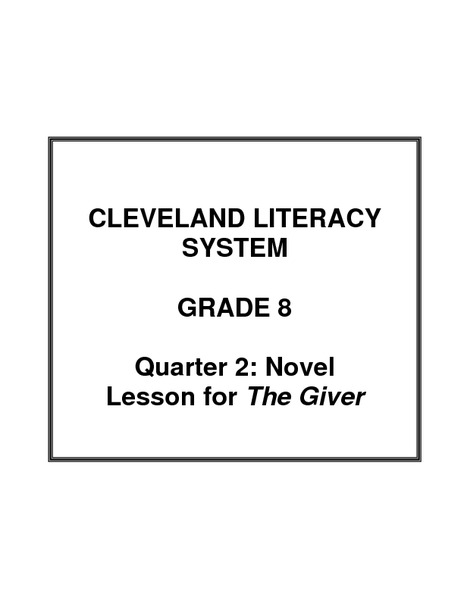 Novel Lesson for The Giver Unit