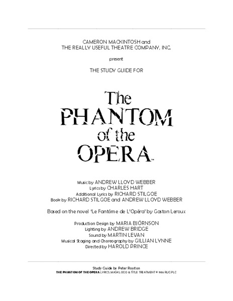 A Study Guide for The Phantom of the Opera Activities & Project
