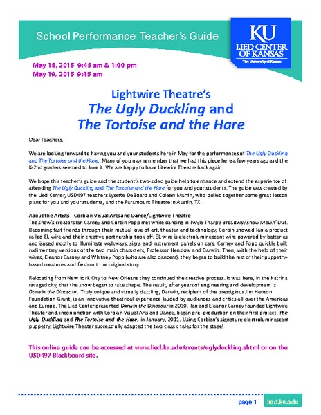 The Ugly Duckling and The Tortoise and the Hare Lesson Plan
