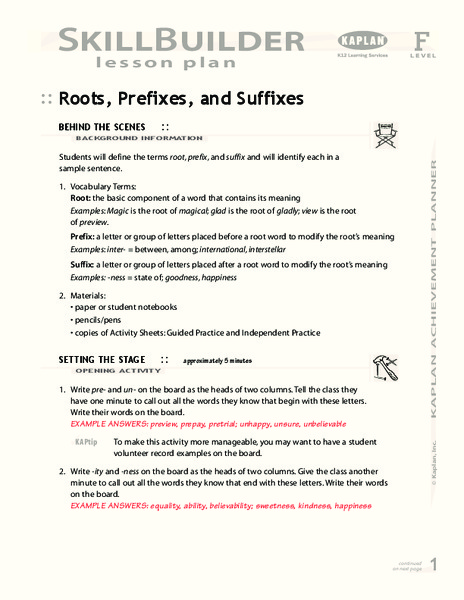 Roots, Prefixes, and Suffixes Lesson Plan