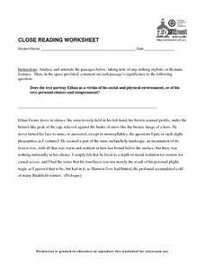 Close Reading Worksheet Worksheet