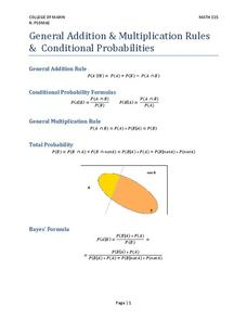 General Addition and Multiplication Rules of Conditional Probabilities Worksheet
