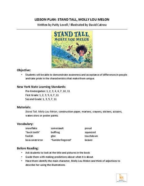 Stand Tall, Molly Lou Melon Lesson Plan