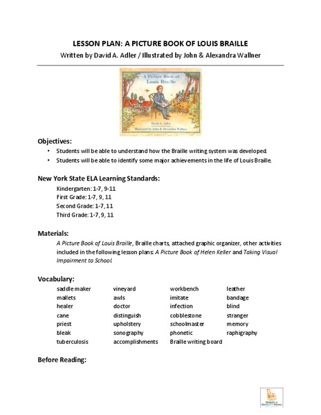 A Picture Book of Louis Braille Lesson Plan