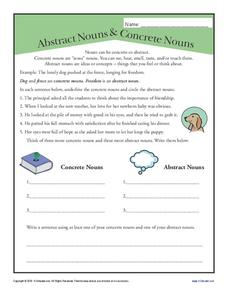 abstract nouns and concrete nouns worksheet for 3rd 4th grade lesson planet. Black Bedroom Furniture Sets. Home Design Ideas