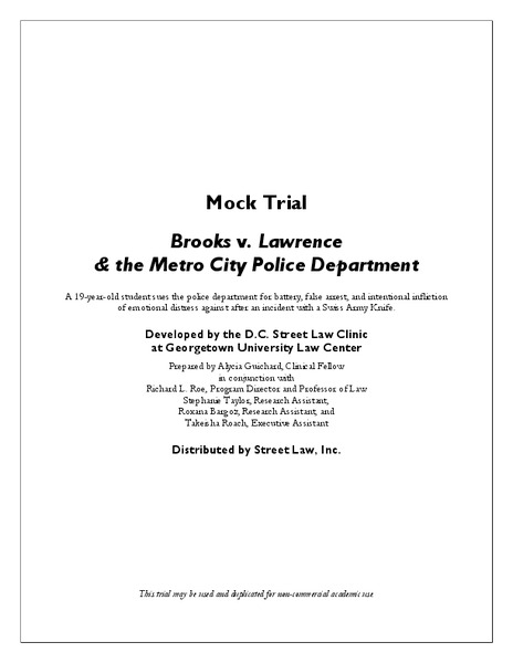 Mock Trial - Brooks v. Lawrence and the Metro City Police Department Activities & Project