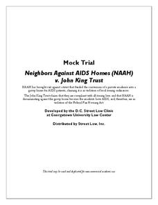Mock Trial - Neighbors Against AIDS Homes (NAAH) v. John King Trust Activities & Project