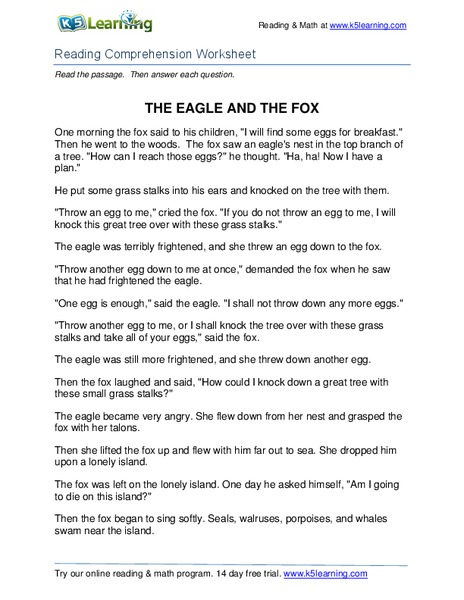 The Eagle and the Fox Worksheet