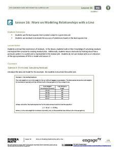 More on Modeling Relationships with a Line Lesson Plan