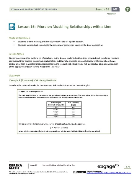 More on Modeling Relationships with a Line Assessment