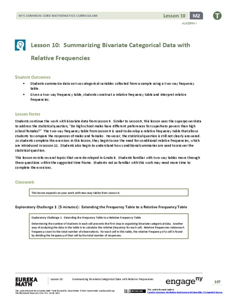 Summarizing Bivariate Categorical Data with Relative Frequencies Assessment