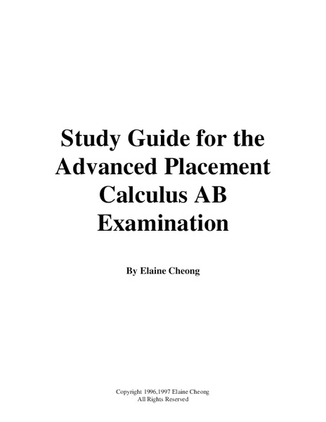 Study Guide for the Advanced Placement Calculus AB Examination Handouts & Reference