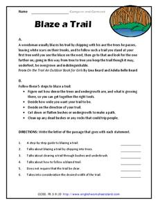 Blaze a Trail Worksheet