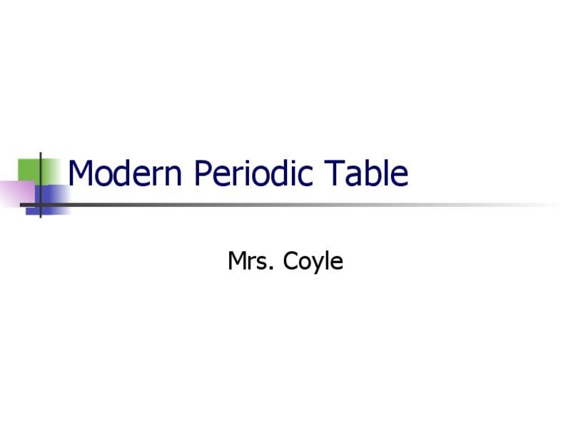 Modern Periodic Table Presentation