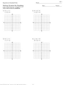 concepts - Solving Systems By Graphing Worksheet