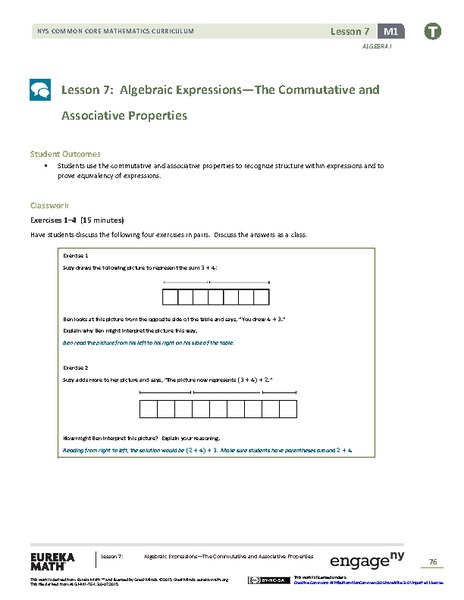 Algebraic Expressions—The Commutative and Associative Properties Lesson Plan