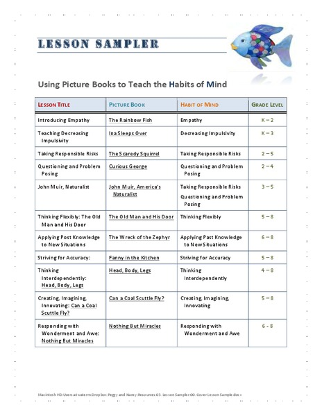 Using Picture Books to Teach the Habits of Mind Handouts & Reference