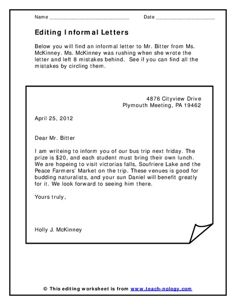 Editing Informal Letters Worksheet For 3rd 8th Grade Lesson Planet