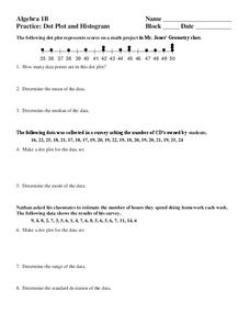 Dot Plot and Histogram Worksheet for 9th - 12th Grade | Lesson Planet
