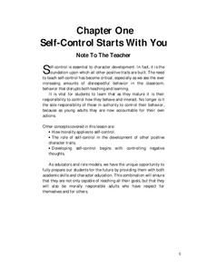 Self-Control Starts With You Worksheet