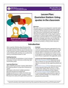 Quotation Station: Using Quotes in the Classroom Activities & Project
