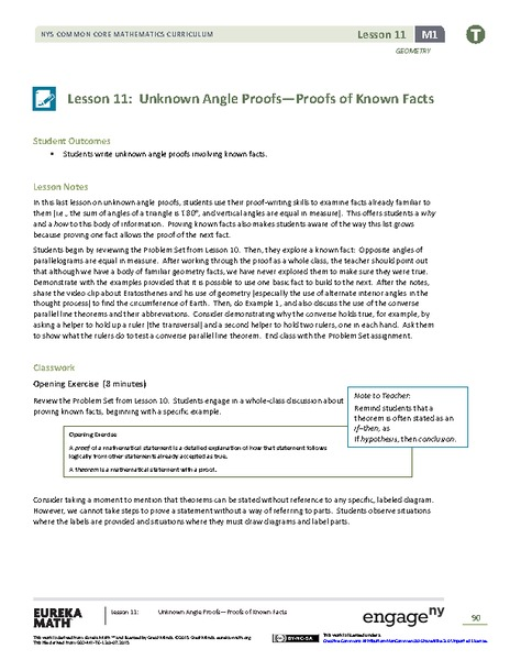 Unknown Angle Proofs—Proofs of Known Facts Lesson Plan