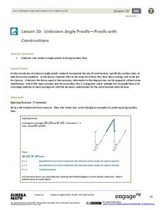 Unknown Angle Proofs—Proofs with Constructions Lesson Plan