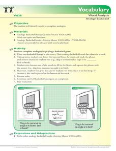 Vocabulary: Word Analysis - Analogy Basketball Activities & Project