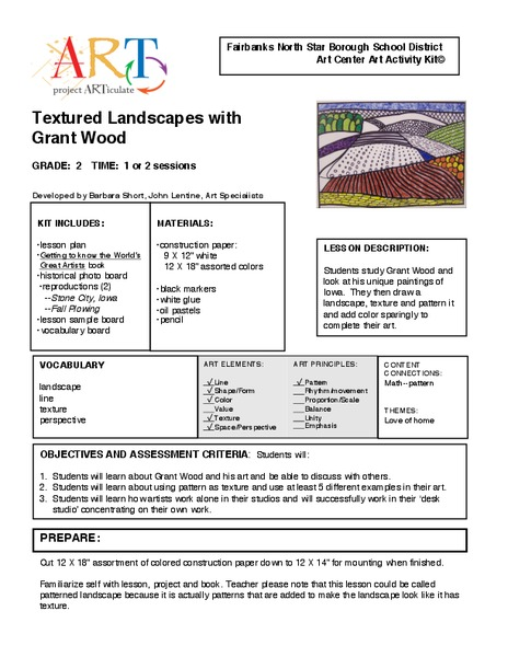 Textured Landscapes with Grant Wood Handouts & Reference