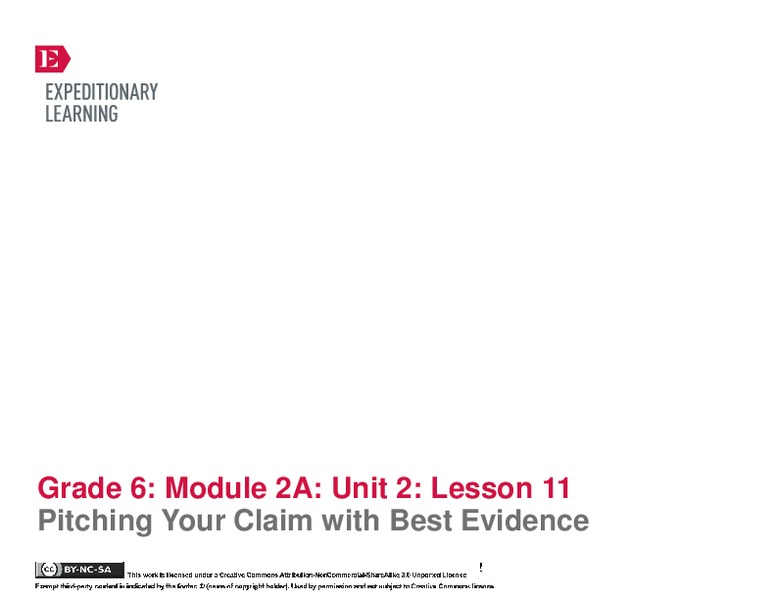 Pitching Your Claim with Best Evidence Assessment