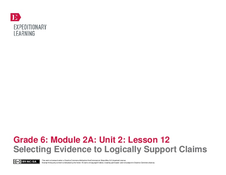 Selecting Evidence to Logically Support Claims Handouts & Reference