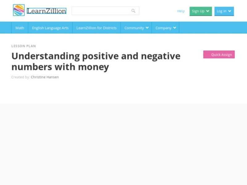 Understanding Positive and Negative Numbers with Money Video