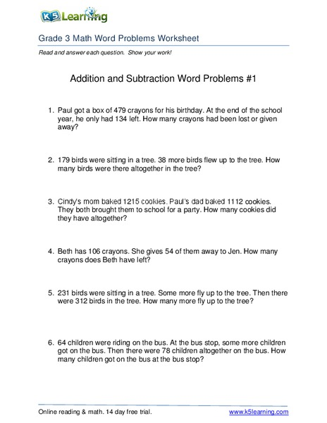 Addition and Subtraction Word Problems #1 Worksheet