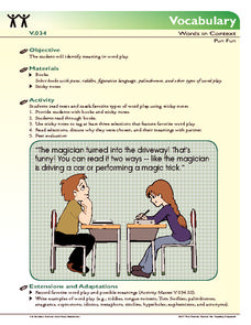 Vocabulary - Words in Context Activities & Project