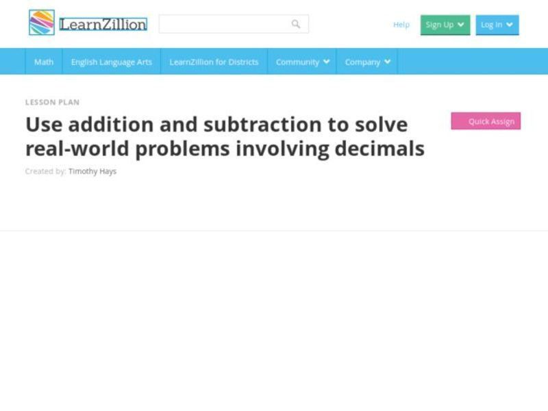 Use Addition and Subtraction to Solve Real-World Problems Involving Decimals Video