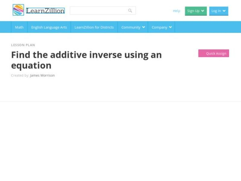 Find the Additive Inverse Using an Equation Video