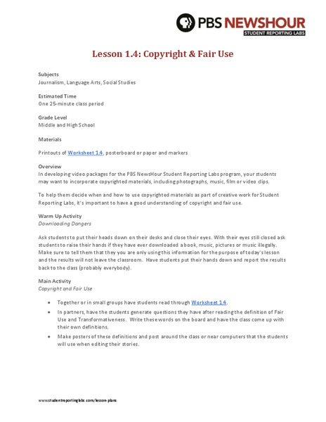 Copyright and Fair Use Lesson Plan