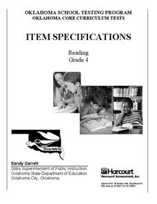 Grade 4 Reading Item Specifications Assessment