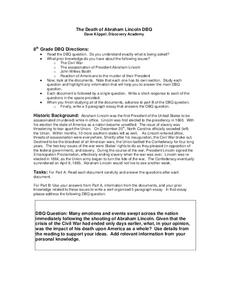 The Death of Abraham Lincoln DBQ Worksheet