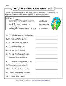 Past, Present, and Future Tense Verbs Worksheet
