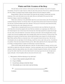 Whales and Fish: Creatures of the Deep Worksheet