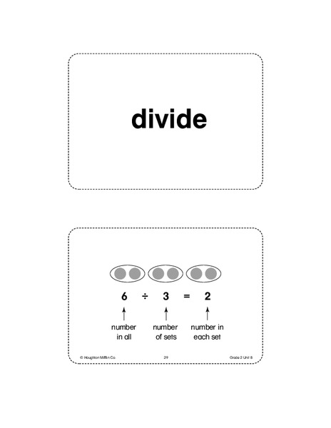 Unit 8 Math Vocabulary Cards (Grade 2) Printables & Template