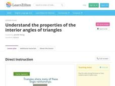 Understand the Properties of the Interior Angles of Triangles Video