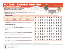 Matches, Lighters, and Kids Do Not Go Together! Worksheet