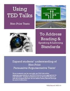 Using TED Talks and Non-Print Texts to Address Reading and Speaking and Listening Standards Lesson Plan