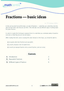 Fractions—Basic Ideas Worksheet