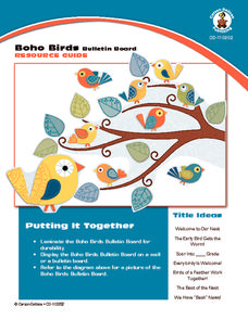 Boho Birds Bulletin Board Printables & Template