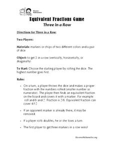 Equivalent Fractions Game: Three in a Row Activities & Project